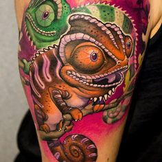 35 Colorful Chameleon Tattoo Ideas – Cheerful Designs That Will Make You Smile Check more at http://tattoo-journal.com/best-chameleon-tattoo-designs-meaning/
