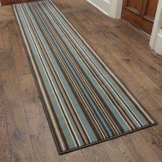 Strike - Blue Stripe Hallway Carpet Runner