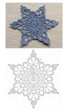 Crochet Snowflake Pattern, Crochet Stars, Crochet Snowflakes, Crochet Diagram, Crochet Motif, Diy Crochet, Crochet Patterns, Xmas, Christmas