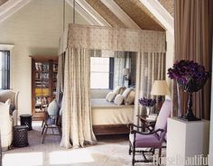A Romantic and Natural Bedroom  Designed by Jeffrey Bilhuber, this romantic master bedroom's walls, ceiling, and floors are rich in organic textures including sheets of reeding.