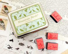 DIY Montain Birds Stamp Set  Rubber Stamp Set  Tin Box Stamp