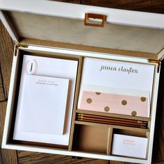 This mix-and-match, personalized stationery desk set is sure to wow! The Camel Collection is flat printed and letterpressed in salmon & gold inks and customized with your name and monogram.  The pencils are a coordinating matte gold.  The white lacquer box includes:  150 sheet 4.25