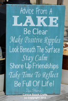 Lake House Decor - Lake Sign - Lake Decor - 18x12 - Cabin - Home Decor - Reclaimed Wood - Advice From A Lake - Teal