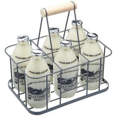 Living Nostalgia Wire Six Bottle Carrier (130 HRK) ❤ liked on Polyvore featuring home, kitchen & dining, food storage containers, wire bottle carrier and wire baskets