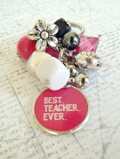 Best Teacher Ever Gift in Hot Pink and White Beaded Interchangeable Cluster Charm or Keychain