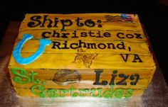 Going Away Cake Going Away Cake made to look like a moving crate. Wood is made with fondant-lettering is made with Tappits, other than the. Moving Crates, Going Away Cakes, Fondant Letters, How To Make Cake, Lettering, Gifts, Presents, Drawing Letters, Favors