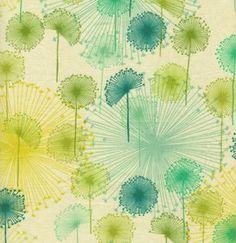 blue & green dandelion fabric print