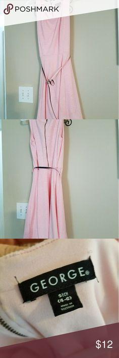 George Belted Pink Dress Knee length beautiful pink dress w/ pink belt. Looks beautiful on the figure. George Dresses