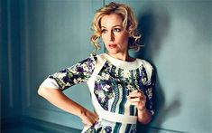 Haughty but nice: Gillian Anderson  (headline from The Telegraph).   I like the placement of the white on the dress.