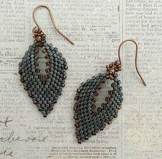 Linda's Crafty Inspirations: Russian Leaf Earrings - Matte Blue Grey