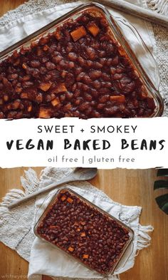 Simple to prepare Sweet and Smokey Vegan Baked Beans, that are both oil and gluten free. Perfect for summer get togethers! Simple to prepare Sweet and Smokey Vegan Baked Beans, that are both oil and gluten free. Perfect for summer get togethers! Sin Gluten, Vegan Gluten Free, Dairy Free, Baked Beans Vegan, Gluten Free Baked Beans, Whole Food Recipes, Vegan Recipes, Dinner Recipes, Vegan Foods