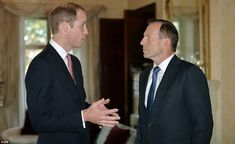 Serious matters: Mr Abbott asked William if he had enjoyed his visit to the Blue Mountains 17 Apr 2014