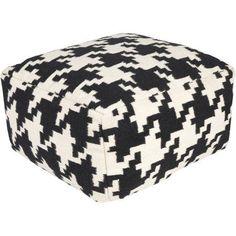 Libby Langdon Bold Houndstooth Hand Made Geometric Wool Decorative Pouf, Black