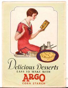 Undated Brochure Recipes Argo Corn Starch Delicious Desserts easy to make #Argo