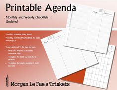 RS undated Monthly and Weekly checklists printable diary insert for Traveler's Notebook
