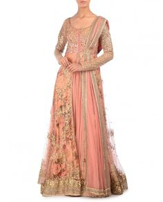Salmon Pink Anarkali Suit with Sequin Embellishments