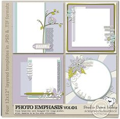 Photo Emphasis Templates Vol.01 By Dawn Inskip at Scrapbook Graphics