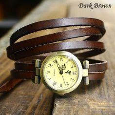 Retro 5 Circles Dial Leather Bracelet Watch