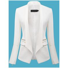 SheIn(sheinside) White Long Sleeve Zipper Fitted Blazer (48 BAM) ❤ liked on Polyvore featuring outerwear, jackets, blazers, sheinside, white, white jacket, zipper jacket, white zip jacket, white collarless blazer and collarless jacket