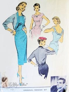 RARE Luis Estevez Figure Molding Dress and Jacket Pattern Magnetic Sheath Back Interest Day or Evening Advance American Designer 7967 Vintage Sewing Pattern  Mad Men Joan Has It Bust 36
