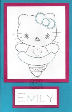 Custom double size hello kitty card by Sew Cute Cards http://sewcute.storenvy.com www.facebook.com/sewcutecards