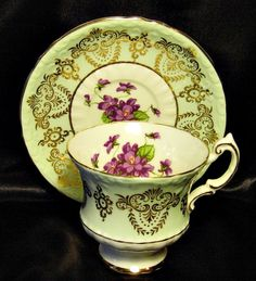 Paragon Tea Cup & Saucer ~ Violets & Gold ~ Mint Green