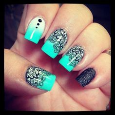 66 Elegant Lace Nail Art Designs 2019 - Our Nail Source by misschipsfrites White Lace Nails, Lace Nail Art, White Nail, Nails Yellow, Green Nails, Teal Nails, Black Nails, Peacock Nails, Ombre Nail