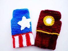 Superhero fingerless gloves - Iron Man or Captain America