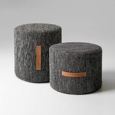 Björk poufs/stool in 100% wool with natural leather handles. Design Lena Bergström (L)