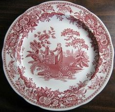 Red Pink Toile Transferware Girl Calico Daisy Plate