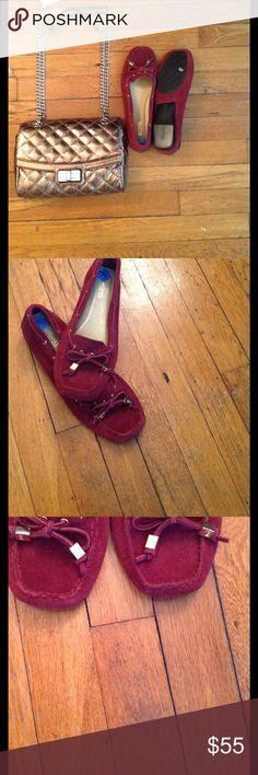 NWOB Michael Kors Red Sutton Suede Moccasin This classic pair is constructed from supple suede.  NWOB- store stickers are attached -Sport Suede  -Sole: Rubber  -Round Toe  -Slip On Michael Kors Shoes Moccasins