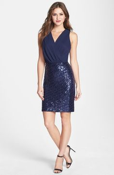 Laundry by Shelli Segal Sequin Skirt Chiffon Dress (Regular  Petite) available at #Nordstrom