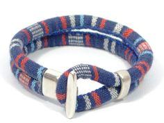 blue & red ethnic bracelet * aztec fabric bracelet * colorful bracelet * mens fabric bracelet * mens nautical bracelet