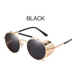 Peekaboo round metal sunglasses steampunk men women fashion 2018 red gold black shield mens shades for women Round Metal Sunglasses, Retro Sunglasses, Black Sunglasses, Sunglasses Women, Zhengzhou, Steam Punk, Steampunk Men, Glasses Brands, Shades For Women