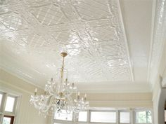Pressed metal, traditionally used on ceilings is now being used in a variety of applications, including as splashbacks, wall panelling, etc. Hundreds of designs from traditional through to contemporary add to the versatility of this material. Tin Ceiling Tiles, Metal Ceiling, Ceiling Panels, Ceiling Decor, Ceiling Lights, Ceiling Ideas, Antique White Usa, Pressed Metal, Ceiling Treatments