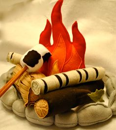felt campfire with felt marshmallow playset by Hopewell Creek on Etsy... super cute!