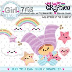 Mädchen Sterne Clipart Mädchen Sterne Grafik von TheHappyGraphics