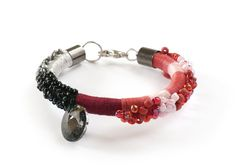 Beaded Rope Bracelet Black and Red Bracelet Fiber by KiaFilStudios