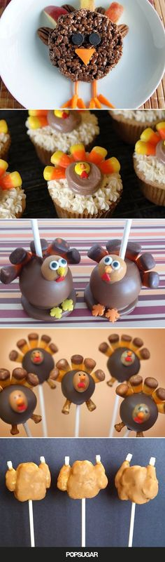 While anything sweet will make tots happy, some Turkey Day-themed treats are even more exciting. Check out the following collection of Thanksgiving-themed treats that will inspire your own epic dessert table.