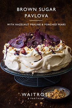 Pears poached in spiced red wine top this showstopper dessert, while homemade hazelnut praline adds crunch. Tap for the recipe. Xmas Food, Christmas Cooking, Christmas Desserts, Just Desserts, Delicious Desserts, Dessert Recipes, Yummy Food, Waitrose Food, Baking Recipes