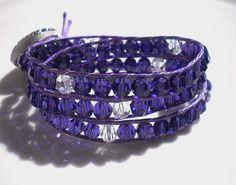 Triple Wrap Bracelet of Purple Velvet Swarovski by MagdaleneJewels