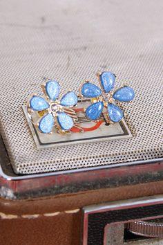 Flower Power Studs in Blue, $7.50