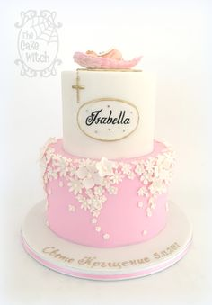 Pink Baby Shower Cake with a Baby Angel