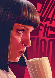 """Pulp Fiction"" - Flore Maquin {female drinking milk shake woman woman profile digital painting}"