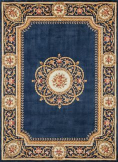 This impressive oriental rug features an ornate border encompassing a variety of traditional Chinese patterns. Intricate designs and a sophisticated color palette, comprised of deep blue, gold, pink and brown, make this oriental rug truly stunning. Wall Carpet, Rugs On Carpet, Buy Carpet, Stair Carpet, Cheap Carpet, Tapetes Vintage, Persian Rugs For Sale, Aubusson Rugs, Hallway Carpet Runners