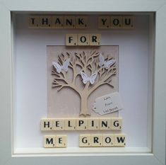 Items similar to Thank you for helping me grow keepsake teacher thank you frame. Thank you frame on Etsy Scrabble Tile Crafts, Scrabble Frame, Scrabble Art, Thank You Teacher Gifts, Teacher Cards, Teacher Appreciation Gifts, Letter A Crafts, Frame Crafts, Box Regalo