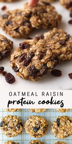Made without any processed sugar or flour, these oatmeal raisin protein cookies are gluten-free, portable and healthy enough to eat for breakfast. # Food and Drink videos fitness Healthy Oatmeal Raisin Protein Cookies Healthy Cookie Recipes, Easy Appetizer Recipes, Healthy Cookies, Healthy Sweets, Vegan Recipes Easy, Dessert Recipes, Healthy Banana Oatmeal Cookies, Yummy Vegan Food, Healthy Oatmeal Raisin Cookies