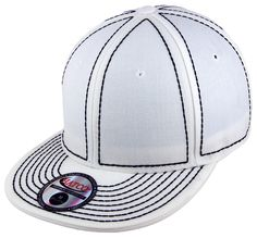 Blank Heavy Stitch Fitted Cap - White/Black