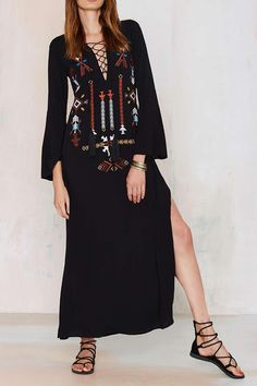 Embroidered Plunging Neck Long Sleeve Maxi Dress