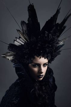 Huge Couture Gothic 'Black Corvidae' Feather by livfreecreations #raven queen